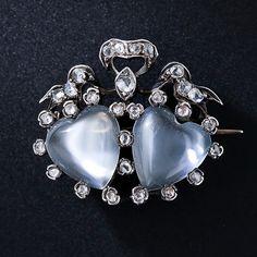 Antique Moonstone Heart Pin - circa 1850