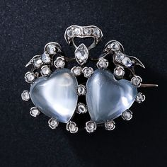 Antique Moonstone and Diamond  Heart Pin, ca. 1850