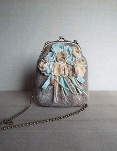 Wool felted purse bag Wool felt hand bag Clutch Bag от LarisaErmak