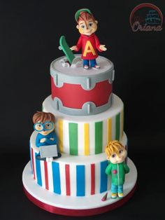 Alvin and the Chipmunks cake . Sponge cake with milk cream and strawberries.Alvin and The Chipmunks cake . Harry Birthday, 1st Boy Birthday, 5th Birthday Party Ideas, Alvin And The Chipmunks, Number Cakes, Edible Cake Toppers, Drip Cakes, Fondant Cakes, Cupcake Cookies