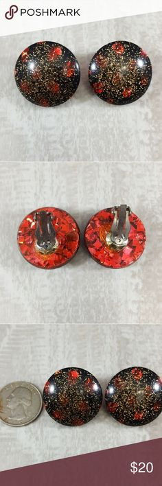 Vintage Confetti Clip On Red Gold Black Earrings A beautiful pair of red, gold and black confetti vintage clip on earrings.  • Diameter 1.25 inches. • Comes in a jewelry gift box. • Perfect for gifts!    Perfect for the vintage jewelry lover in your life! Vintage Jewelry Earrings