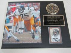"Joe Greene Pittsburgh Steelers Collectors Clock Plaque w/8x10 Photo and Card by J & C Baseball Clubhouse. $39.99. This 12""x15"" plaque is a must have for any sports fan or collector! Comes complete with licensed 8x10 glossy photo, battery operated clock (complete with AA battery) and official card(s). Perfect for any den, office or mancave!"