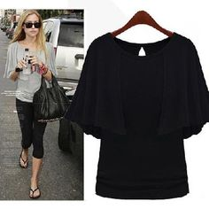 Celebrity Style Stealer Cape Sleeve Shirt (Black) **Ships Free**