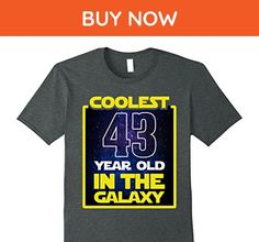 Mens Coolest 43 years old in the galaxy Funny 43rd birthday Shirt 3XL Dark Heather - Birthday shirts (*Amazon Partner-Link)