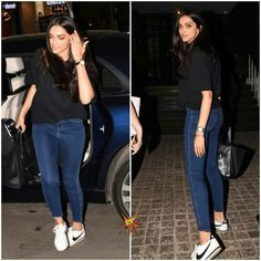 Deepika Padukone was spotted at Soho house today. Casual College Outfits, Cute Preppy Outfits, Classy Outfits, Cool Outfits, Deepika Padukone Dresses, Running Wear, Indian Bridal Outfits, Sneakers Fashion Outfits, Bollywood Fashion