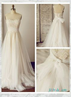 H1589 Sheer tulle strappy lace top boho wedding dresses :