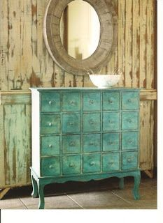 """""""Home Decor: Some of my favorite things.... All Things Apothecary"""" -- A post with several gorgeous apothecary cabinets and jars. Impressive legs on this gorgeously colored aged piece."""