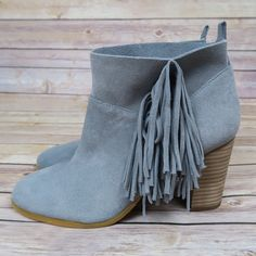 Grey side fringe ankle boots Brand: Crown Vintage Size: 8 New(no box) Color: Grey  Suede upper Side fringe detailing  Loose topline Round toe  Heel height: 3 1/4in Chunky heel No Swap Shoes Ankle Boots & Booties
