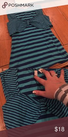 "Anthropologie striped sailor inspired top Blue and turquoise striped pattern, chest overlay of fabric for great style and slimming effect. Great for summer! Moth brand for Anthropologie, true size small. 21"" long. Stretch fabric. Anthropologie Tops Tank Tops"