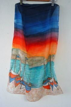 Evening Sail Handpainted Silk Scarf Greek Boats at by CreteArt, €28.00