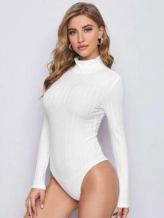 Mock Neck Long Sleeve Bodysuit | SHEIN USA Funnel Neck, Long Sleeve Bodysuit, Black Pattern, Mock Neck, Types Of Sleeves, Rib Knit, Fashion News, Cotton Fabric, Turtle Neck