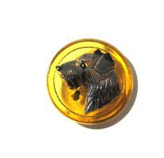 Czech Terrier Button Hand Painted Amber Glass Czech Glass Button One (1) Czech…