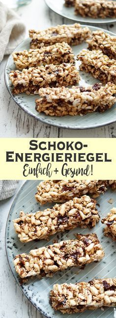 These energy bars with dark chocolate are light and crispy with a leisur … - Snack Mix Recipes Vegan Sweets, Healthy Sweets, Healthy Snacks, Snack Mix Recipes, Baking Recipes, Food To Go, Food And Drink, Muesli Bars, Breakfast Snacks