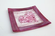 Pink Heart Fused Glass Frit Plate