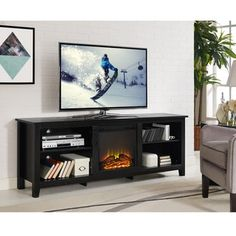 Ameriwood Home Barrow Creek Fireplace 60-inch Console with Glass Doors | Overstock.com Shopping - The Best Deals on Indoor Fireplaces