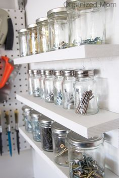 great way to organize nails, screws, etc (the small things that *always* get lost) in your garage