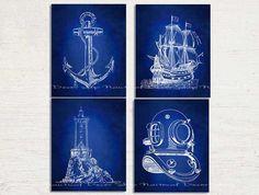Nautical Art, Nautical Decor Set of Four Prints, Lighthouse Wall Art, Diving Wall Art, Lighthouse, Sail Boat, Ship, Anchor, Nautical, Sail