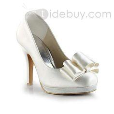 ファッションサテンスティレットヒールクローズドつま先の結婚式の靴