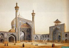 Painting by the french architect, Pascal Coste, visiting Persia in 1841. The painting shows the main courtyard, with two of the iwans. The iwan to the right is topped by the goldast, which in many Persian mosques had replaced the function of the minarets.