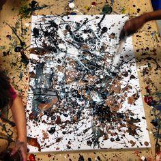 Painting in preschool- inspired by Jackson Pollock