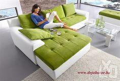Tullon fehér fehér - zöld sarok kanapé ülőgarnitúra 270x185 cm ágyneműtartós ágyazható jobbra balra szerelhető fekvő felület 211x140 cm 75 színben kapható 149.000 Ft igény esetén méreteiben módosítható 1. kép