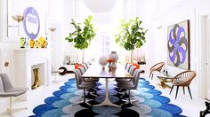Groovy ombré rug in dining space