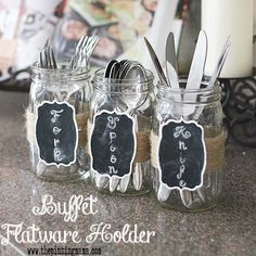 Chalkboard & Jute Mason Jar Silverware Holders for a Buffet or Party  Perfect for thanksgiving or Christmas or ANY entertaining!!