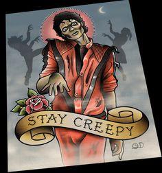 Michael Jackson Thriller Tattoo Flash by ParlorTattooPrints
