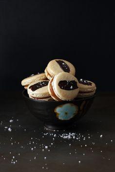 Pumpkin Pie Spice Macarons With Caramel, Dark Chocolate Ganache, And ...