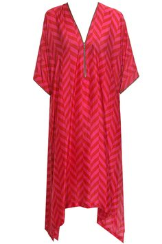 Red/rani zigzag print asymmetric tunic available only at Pernia's Pop Up Shop.