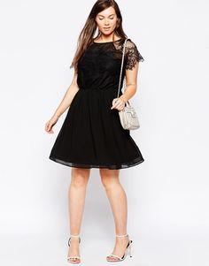 $88.00 Image 4 ofASOS CURVE Skater Dress In Patchwork Eyelash Lace