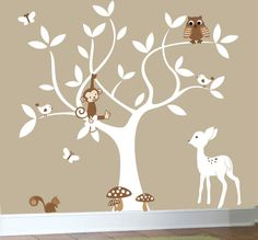 nursery swirl white tree bird owl leaf leaves squirrel owls home house Art Decals Wall Sticker Vinyl Wall Decal stickers baby bed room Jungle Nursery, Baby Nursery Themes, Baby Decor, Girl Nursery, Girls Bedroom, Bedroom Ideas, Owl Tree, Bird Tree, Nursery Decals