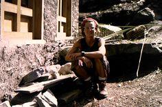 Lene Gammelgaard trekking in to Everest Base Camp April 1996
