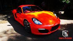 Porsche Full Wrap Glossy Orange   #carwrap #vehiclewrap #tomsstickers #porsche #carsticker #stickershop #kualalumpur #orange