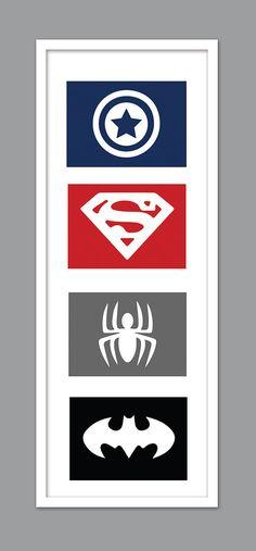 4 Superhero Symbol Zeichen Silhouetten für Kindergarten/jungen…