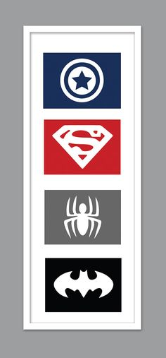 4 Superhero Icon Character Silhouettes for Nursery/Boys Nursery/Captain America/ Superman/ Spiderman/ Batman - Set of 4 - 5x7s