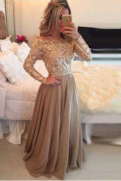 A-Line Prom Dresses, Gold Prom Dresses, Long Prom Dresses,Long Sleeves Prom Dresses,Formal Evening Dress OK185