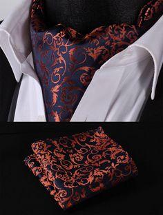 RF206N Orange Navy Blue Floral Silk Cravat Scarves Ascot Hanky Handkerchief Set #SetSense #Ascot