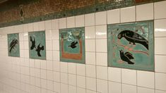 Time for some art from New York City's underground! On the way to the gym last month, I saw these gorgeous tiled art pieces by Elizabeth Grajales called A Bird's Life on the platform of…