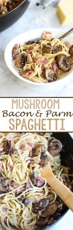 Mushroom, Bacon, and Parmesan Spaghetti - Eazy Peazy Mealz (Pasta Recipes Bacon) Yummy Recipes, Pasta Recipes, Great Recipes, Dinner Recipes, Cooking Recipes, Yummy Food, Favorite Recipes, Cooking Fish, Spaghetti