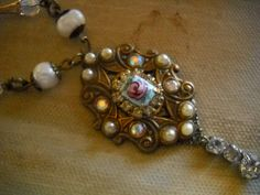 FREE SHIP Vintage Guilloche rose and freshwater pearl by triolette