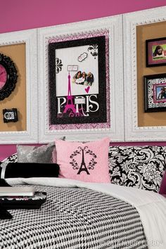 Give your tween princess an aww-inspiring retreat with classic Parisian colors (pink and black, of course) and accessories (like an Eiffel Tower lamp).