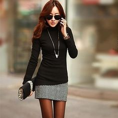 NUO WEI SI® Women's New Korean Slim Round Collar Long Sleeve Shirt - USD $ 8.90