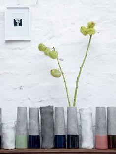 Vases Tube XS - House Doctor - Accessorize your Home. Cheap Vases, Cement Art, Garden Deco, Clear Glass Vases, Concrete Design, House Doctor, Vases Decor, Entryway Decor, Inspiration