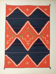 tomato red and navy Navajo blanket // c. 1935-1939