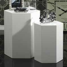 I pinned this 2 Piece Hexagon Accent Table Set from the A Thoughtful Place event at Joss and Main! Deco Furniture, Table Furniture, Furniture Ideas, Book Display Stand, Monochromatic Room, A Thoughtful Place, Nesting End Tables, End Table Sets, Side Tables