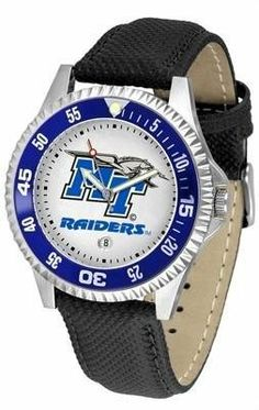 Middle Tennessee State MTSU Men's Leather Sports Watch by SunTime. $68.95. Adjustable Band. Men. Date Calendar And Rotating Bezel. Officially Licensed Middle Tennessee State Blue Raiders Men's Leather Sports Watch. Poly/Leather Band. Middle Tennessee State men's leather wristwatch. Middle Tennessee State wrist watch features functional rotating bezel color-coordinated to compliment team logo. A durable, long-lasting combination nylon/leather strap, together with a date calendar, ...
