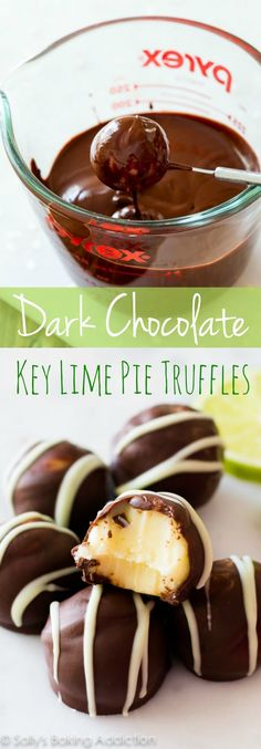 Smooth-as-silk key lime ganache filling enrobed in dark chocolate. These homemade truffles make me weak at the knees!