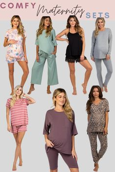 Comfy maternity fashion! Colorful spring maternity fashion that's both comfy and cute. I'm loving these easy sets for the perfect maternity outfits. A good matching set makes making cute effortless while pregnant #maternityfashion #maternityclothes #maternitystyle #maternityoutfits #maternityoutfit #maternitycomfyclothes #maternityspringoutfit #maternitysummeroutfit #maternitywinteroutfit Winter Maternity Outfits, Spring Maternity, Casual Maternity, Pregnancy Outfits, Maternity Fashion, Maternity Dresses, Maternity Clothing, Hospital Bag For Mom To Be, Maternity Underwear