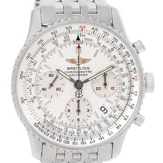 16007 Breitling Navitimer Chrono Silver Dial Steel Bracelet Watch A23322 SwissWatchExpo